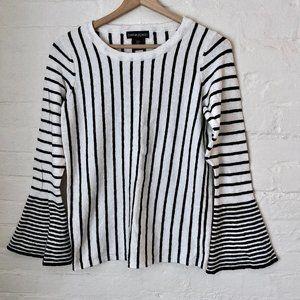 Cynthia Rowley Black & White Bell Sleeves Sweater